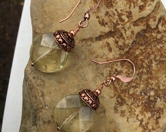 Lemon Quartz and Copper Earrings