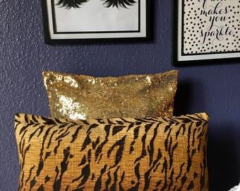 Decorative Lumbar Pillow Cover - Tiger Print Pillow Cover - Lumbar Pillow Cover - Tiger Print Pillow Cover -  Brown Pillow Cover