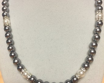 Grey Glass Pearl Necklace
