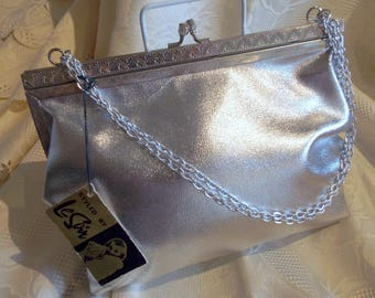 Le Soir vintage silver evening bag, new with tags still in place