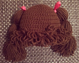 Crocheted Cabbage Patch Hat - toddler size