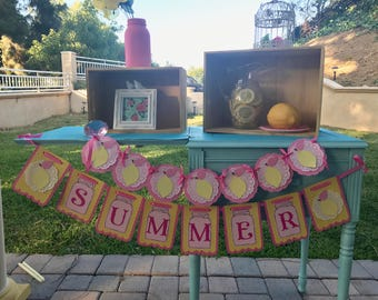 Pink Lemonade inspired SUMMER banner.