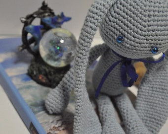 knitting rabbit.blue rabbit.knitting toy.present for kids. bunny rabbit. knitting toys. handmade toys.