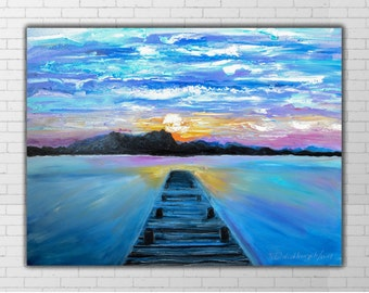 Original Oil Painting, Blue canvas wall art, sunset picture, Mountain sunset painting, Pier, Moorage, Seascape, Purple, Vivid, Pier oil art