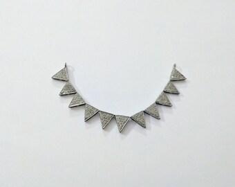Silver Pave Diamond Necklace Pendent