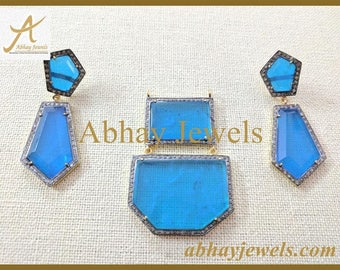 Silver Pave Genuine Diamond Pendent Set with Blue Crystal Stone