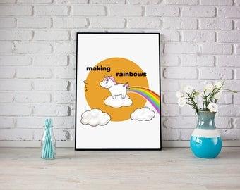 Making rainbows Print , kids Wall Art, Sweets Print, kawaii Art Print, home Decor, unicorn Illustration
