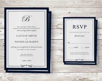 Elegant Navy Border Wedding Invitation and RSVP Design Kit