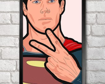 Superman Super fingers Poster Print A3+ 13 x 19 in - 33 x 48 cm  Buy 2 get 1 FREE