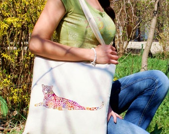 Leopard tote bag -  Leo shoulder bag - Fashion canvas bag - Colorful printed market bag - Gift Idea