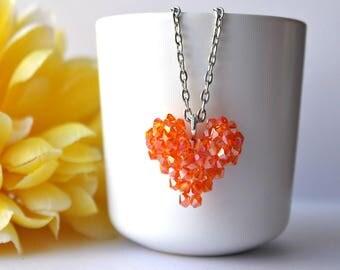 crystal pendant - 3D heart pendant - orange/tangerine pendant - beaded heart - beadwork - beadwoven jewelry - SoniaMalletCreations handmade