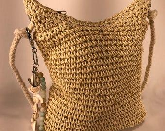 "Crossbody Straw Mini Bag with ""Sea Anchor"" Fandangle"
