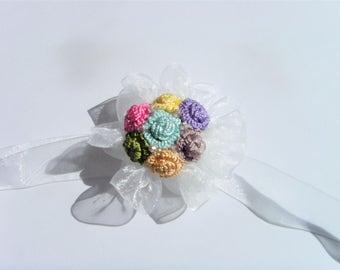 Jewelry necklace wedding self-tie Ribbon pearls in silk thread.