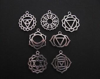 Chakra Pendants, Sizes Vary:  3.1cm X 2.7cm, 2.9cm X2.3cm (Set of 7) C46