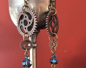 Blue crystal steampunk gear earrings