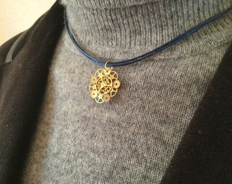 Steampunk necklace gold mechanical flower