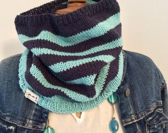 Navy Blue sailor Snood and turquoise blue