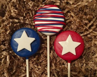 Patriotic Oreo cookie pop / Fourth of July party favor / red white and blue / Independence Day / Memorial Day / one dozen (12)