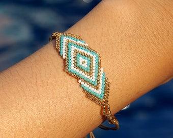 Hip Boho Friendship Bracelet | Blue-White-Gold Seed Beads | MAYA - Sea Sand