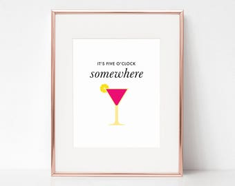 Five o'clock Somewhere, 11x14 Digital Download Prints, Wall Art, Home Office, Kate Spade, Arbor Grace Collections
