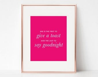Give A Toast, Say Goodnight, 11x14 Digital Download Prints, Wall Art, Home Office, Kate Spade, Arbor Grace Collections