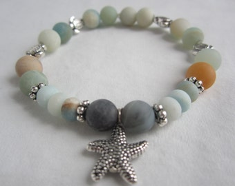 Beautiful Matte Amazonite Sea Turtle and Starfish stretchy bracelet