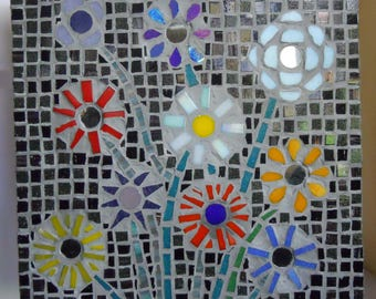 Mosaic Wall Art Multi Flowers Glass