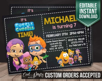 Bubble Guppies invitation, Bubble Guppies invite, Bubble guppies party, Bubble Guppies birthday, Bubble Guppies, Bubble Guppies printable
