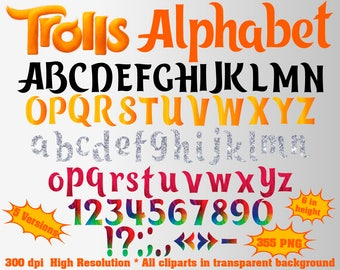 Trolls Full Alphabet, Numbers and Symbols | 355 PNG | 300 dpi | Transparent Background | 5 Colors | Trolls Birthday Party | Poppy, Branch