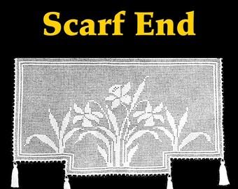Daffodil Lace Scarf End Filet Crochet Pattern