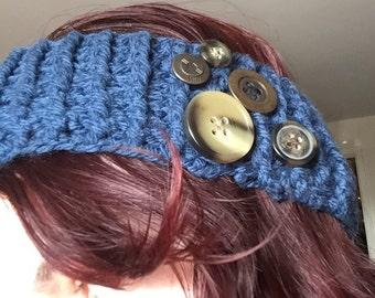 Handmade Crochet Headband - Blue. Button Embellished
