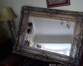 Large Ornate Golden Mirror with Bevelled Glass Antique Vintage