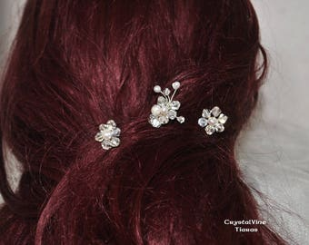 Three Handmade Flower hairpins Freshwater Pearls Clear AB Crystals gilt wire