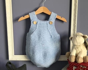 Hand Knitted Baby Romper for Boy or Girl - Made to Order