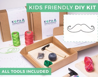 Kids friendly DIY MUSTACHE string art kit, kids craft kit, all tools included, cool gift for kids