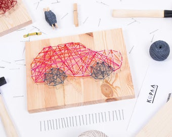 Kids friendly DIY CAR string art kit, kids craft kit, all tools included, cool gift for kids