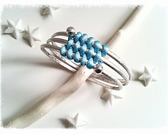 Bracelet triple ring woven