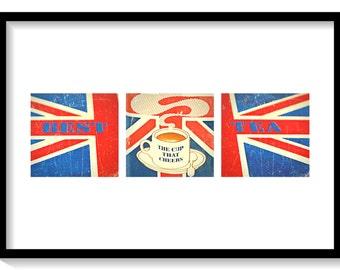 British Tea Wall Art Printable, Vintage Union Jack Print, British Flag Downloadable Wall Art Poster, Tea Cup Art, Instant Download 11x14.