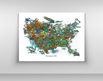 "United States  Map - ""Diversity in US"" Poster"