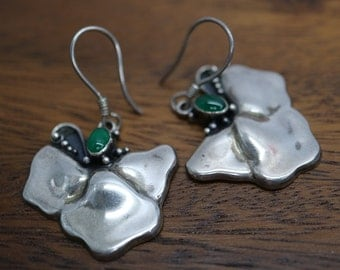 Vintage artistic handmade sterling silver earrings with natural green stone