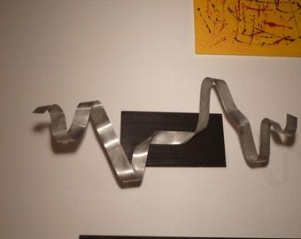 Large modern abstract wood aluminium artist wall sculpture