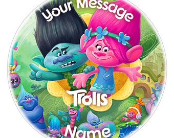 TROLLS Inspired Personalised Edible Icing Print Party Decoration Cake Topper 7.5""