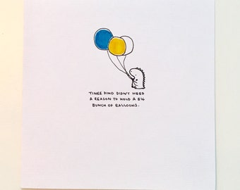 Hand Drawn Card With Balloon Image (blank)