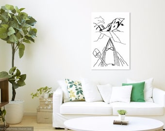 Kayaking Line Art Print || Kayak Wall Art || Oregon Art || Pacific Northwest Wall Decor || Black and White Drawing