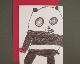 Crazy Panda Cartoon Note Card