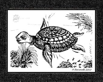 Big Sea Turtle  2015 Original handmade graphic drawing for instant download A2, A3 in black or white variation for you choise CMYK 300 DPI