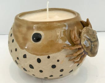 Coconut Lime Scent soy Candle in Cute Ceramic Crab Bowl