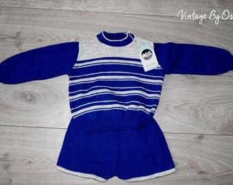 VINTAGE 1970's UNWORN Boys Mecca Royal Blue Grey Top,Shorts Set ageE 2 YEARS,new, black, costumes,