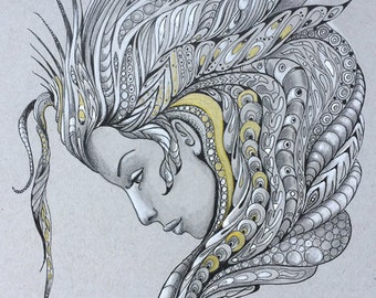 Limited Print of Original Drawing, Headdress