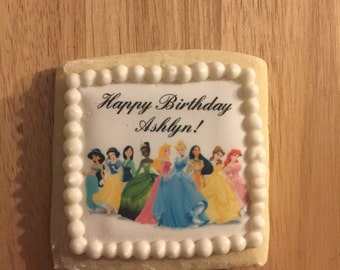 1 Dozen Customizable Princess Birthday Cookies